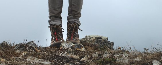 Walking boots on mountain